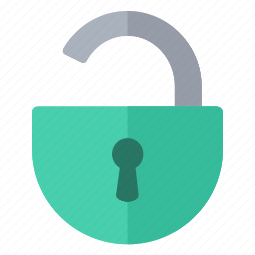 green, open, padlock, round, security icon