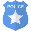 badge, blue, police, security icon