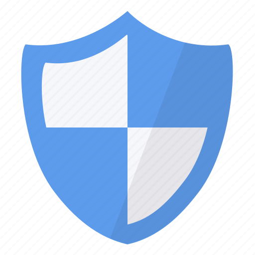 blue, security, shield icon