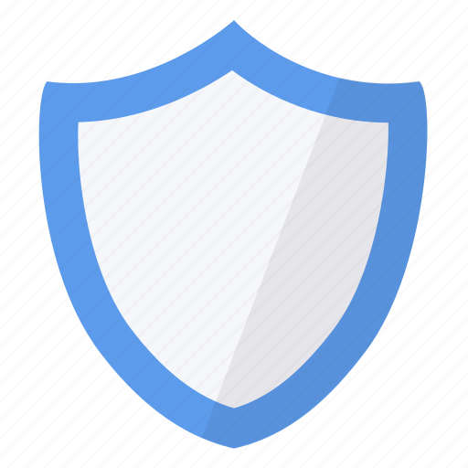 blue, contour, security, shield icon