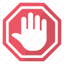 hand, security, sign, stop icon