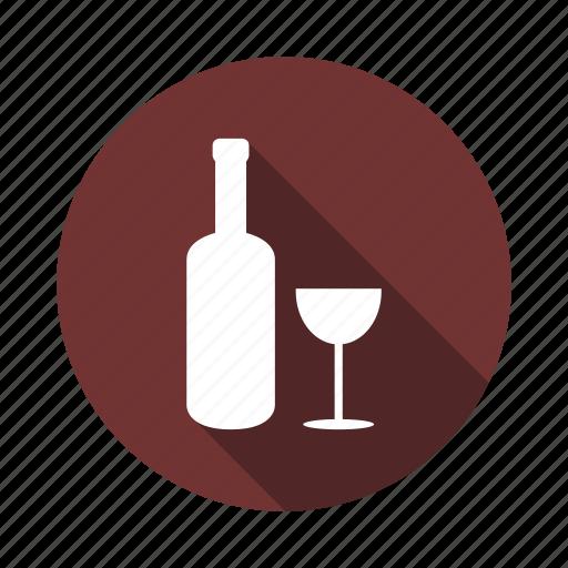 bottle, drink, glass, illustration, wine icon