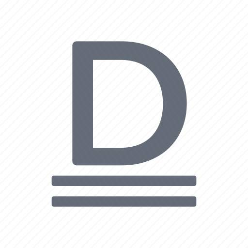 character, double, mode, processing, small, style, underline icon