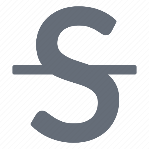 character, large, processing, strikethrough, style, word icon
