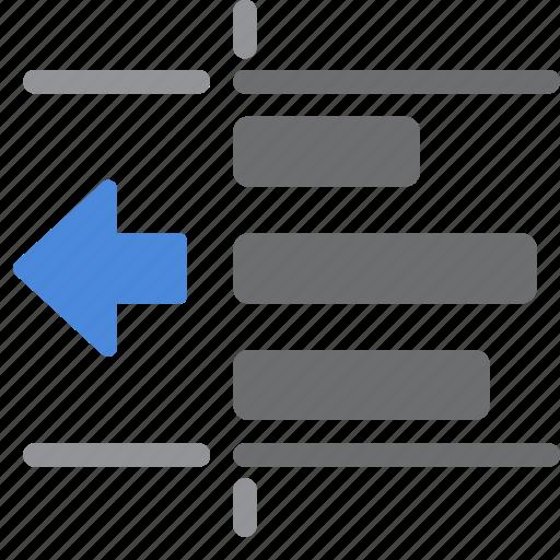 left, paragraph, text, unindent icon