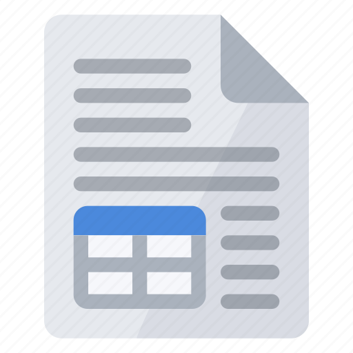 document, table, text icon