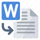 document, import, to, word icon