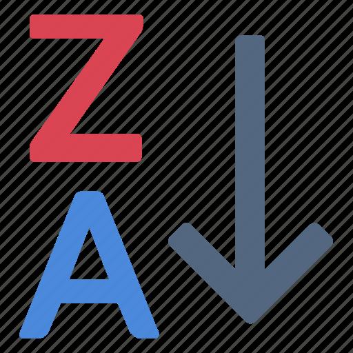 alphabet, reverse, sort, za icon