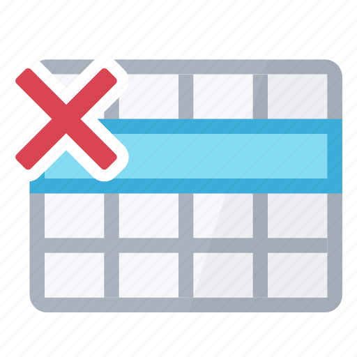 delete, row, selection, table icon