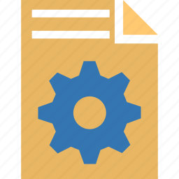document, file, gear, options, page settings, setup, tools icon