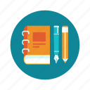 book, education, learn, pen, pencil, read icon