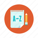 education, file, paper, pencil, translate icon