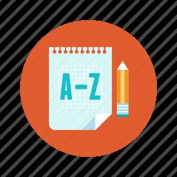 education, file, paper, pencil, translate icon