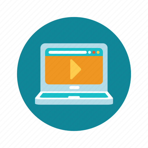 education, learning, online, tutorial, video, webinar icon