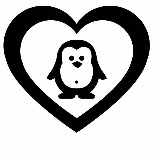 animal, funny, heart, like, love, penguin icon