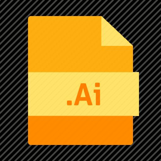 adobe illustrator, ai icon, document, extension, file, name icon