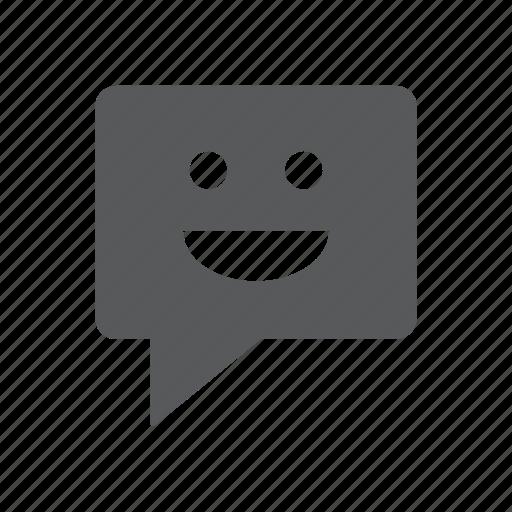 chat, emoticon, happy, message, smile, smiley, sms icon