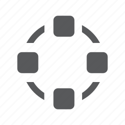 circle, communication, connection, network, nodes, social icon