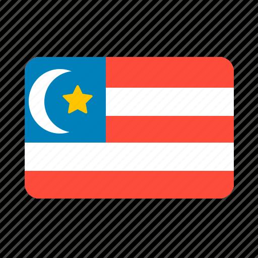 country, flag, malaysia, sun icon