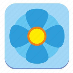 bud, flower, plant, rounded, square, tile icon