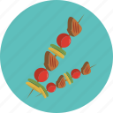 food, meet, on, stick icon