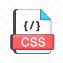 css, css file, css format, document, file extension, file format icon