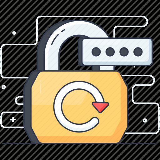 change passcode, change password, digital padlock, locked padlock, password backup icon