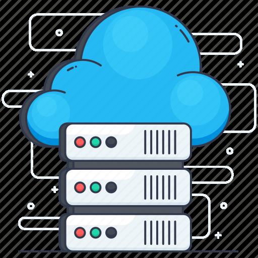 cloud computing, cloud server, cloud storage, data server, web hosting icon