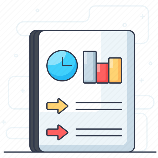 business report, document, file, graphical report, stats report icon