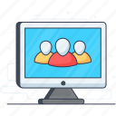 community, online business, online employees, online team, video chat, virtual meeting icon