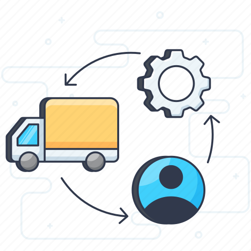 distribution, product cycle, supply chain, supply management, supply process icon