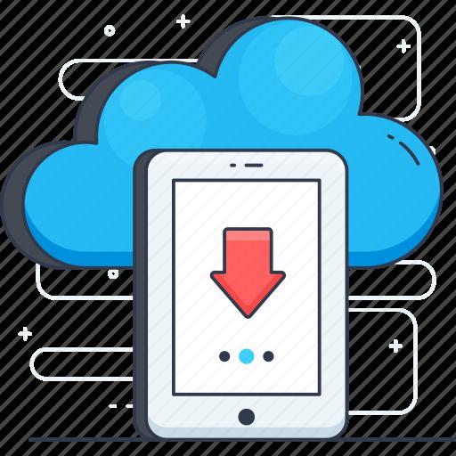 cloud computing, cloud hosting, cloud storage, cloud technology, data download icon