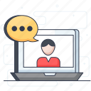 communication, online chat, online employee, video chat, virtual meeting, web chat icon