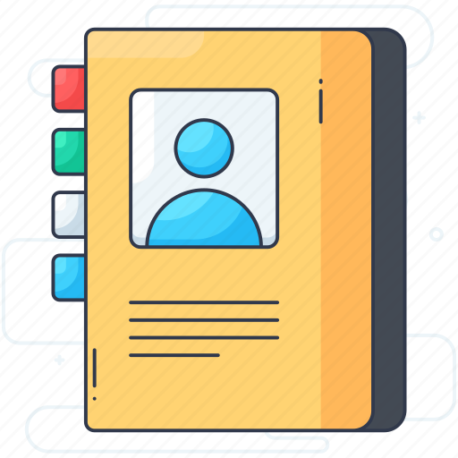 address book, business contacts, contact book, contact list, directory icon