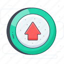 arrow, arrowhead, click, go upward, upward arrow icon