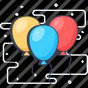 balloons, balloons decorations, celebration balloons, event celebration, helium balloon, party time icon