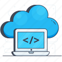 cloud coding, cloud computing, cloud hosting, cloud programming, cloud services, html coding icon