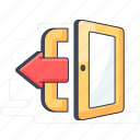 check out, exit, log off, log out, sign off, sign out icon