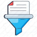 data analysis, data clear, data filter, data filtration, marketing funnel icon