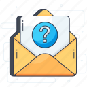 communication, confused message, email, envelope, letter, request, text icon
