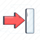 check out, directional arrow, exit arrow, right arrow, sign off icon