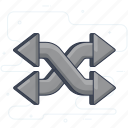arrow, direction arrow, flaxable, indication, intersecting arrow icon