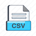 csv, csv file, csv format, document, file extension, file format icon