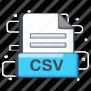 csv, csv file, csv format, document, file extension, file format icon