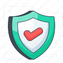 antivirus, protection shield, security shield, verified protection, verified security icon