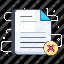 cancel file, delete document, delete file, file decline, reject file icon