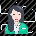 assistant, businesswoman, executive assistant, female, secretory, supervisor icon