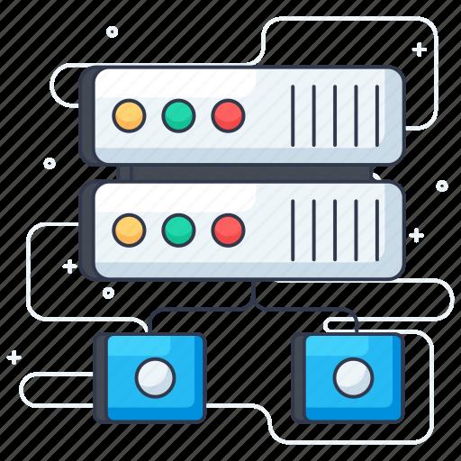 data warehouse, database hosting, database network, database networking, database storage, server hosting icon