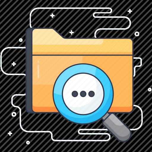 browser, data finding, find folder, folder review, search folder icon