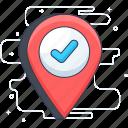 checkin, correct address, location, location pin, verified location icon